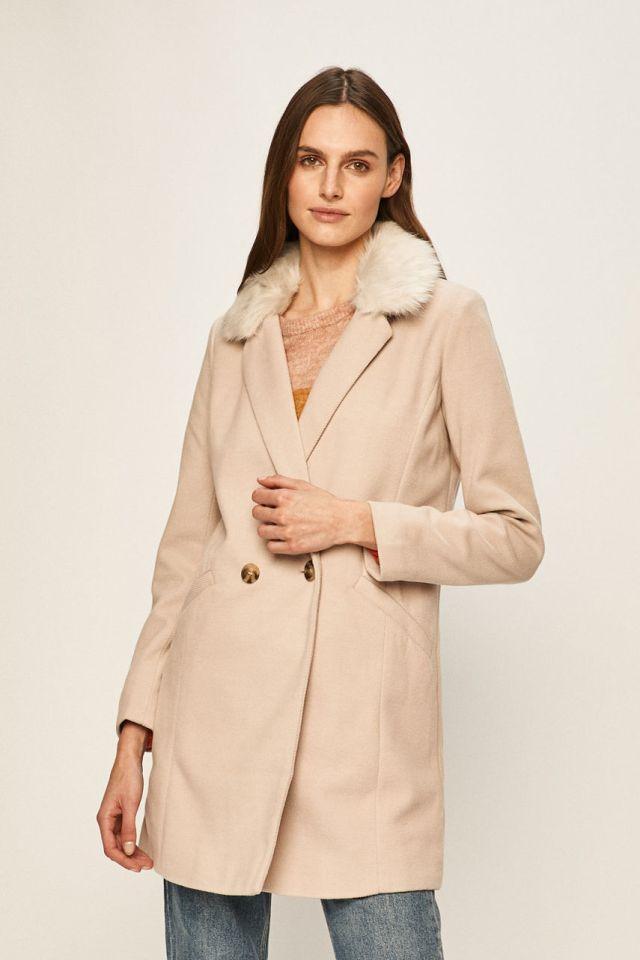 Palton dama roz captusit din material cu lana