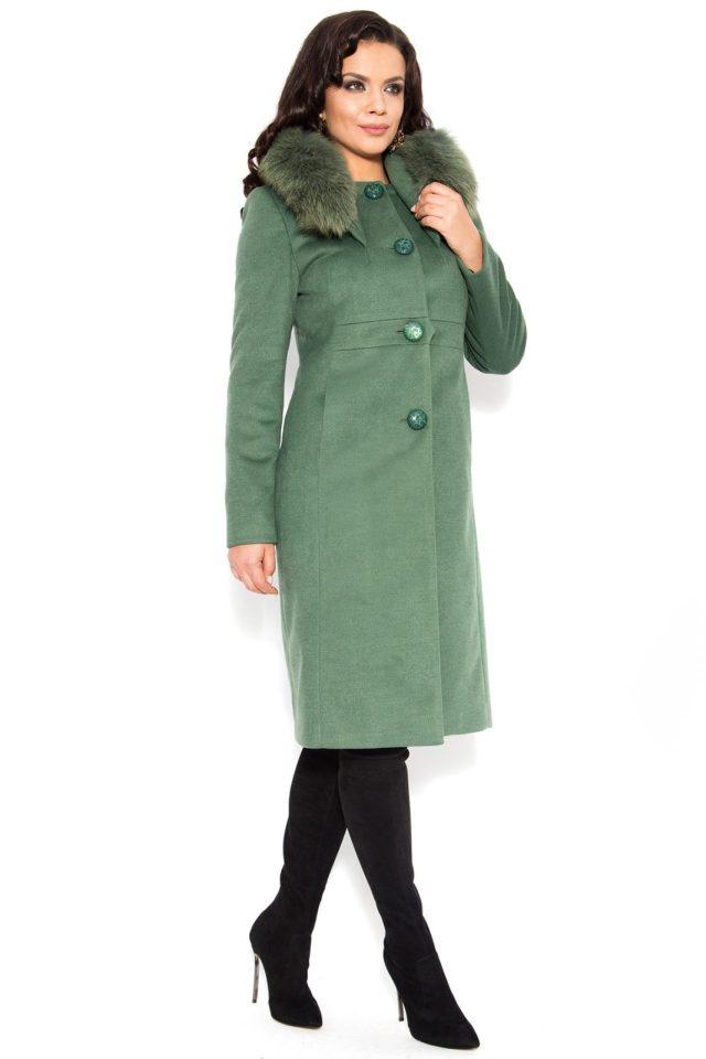Palton elegant din stofa cu lana de culoare kaki cu guler detasabil din blana naturala