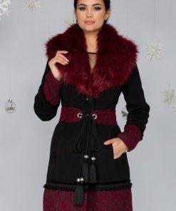Palton negru cu broderie la baza si maneci si guler bordo detasabil