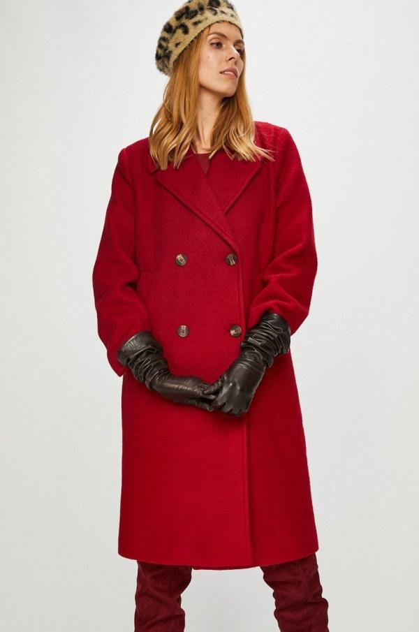 Palton rosu vintage captusit cu buzunare oblice