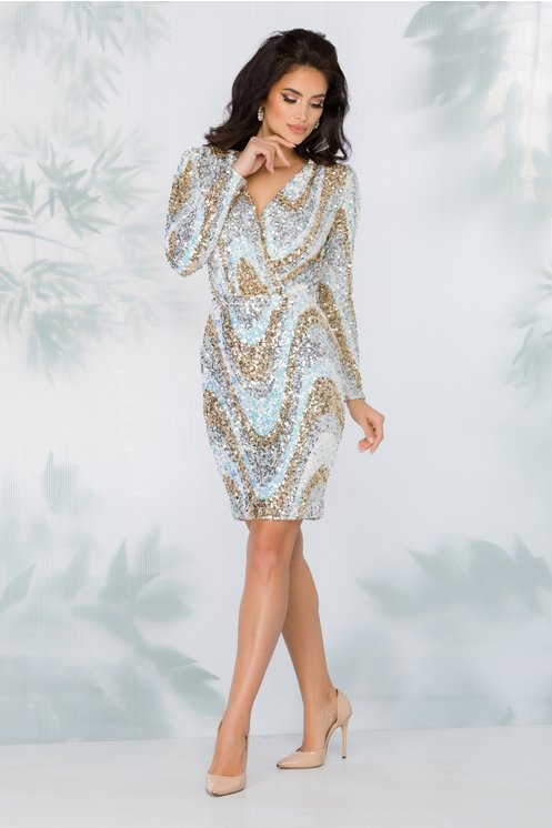 Rochie alba eleganta cu paiete aurii