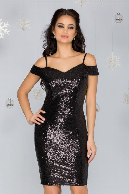 Rochie de ocazie eleganta conica neagra cu paiete si manecute lasate