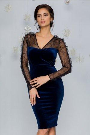 Rochie de ocazie eleganta din catifea bleumarin cu dantela si glitter