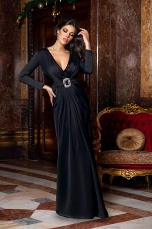 Rochie de ocazie eleganta lunga din saten negru cu decolteu adanc in V