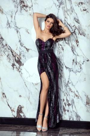 Rochie de ocazie eleganta lunga paiete colorate si decolteu adanc