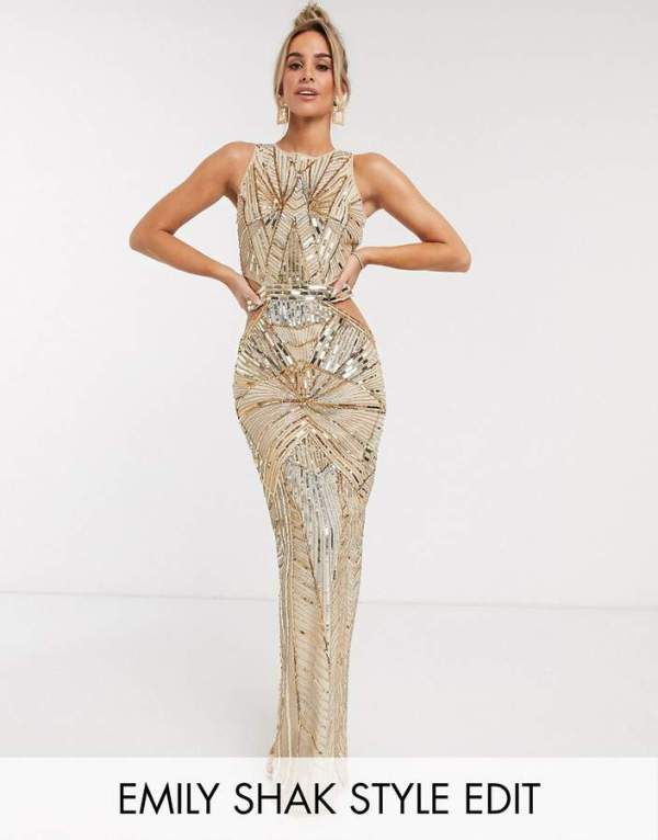 Rochie de seara lunga eleganta tip sirena cu paiete aurii Asos