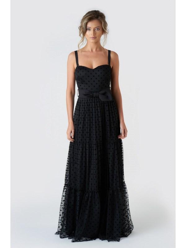 Rochie de seara lunga neagra eleganta din tulle cu buline