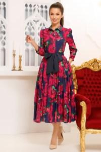 Rochie eleganta cu imprimeu colorat tip camasa cu funda la talie