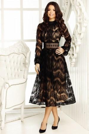 Rochie eleganta din tull transparent cu insertii din catifea neagra si satin