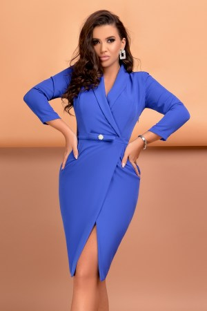 Rochie eleganta midi conica albastra din bistrech cu decolteu in V