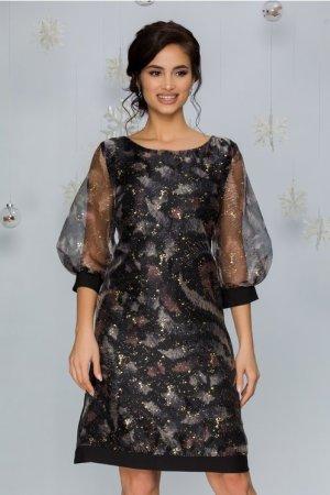 Rochie eleganta midi neagra cu imprimeu divers si picatele aurii