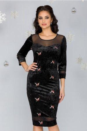 Rochie eleganta neagra conica din catifea cu broderie florala