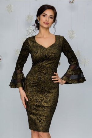 Rochie eleganta neagra midi conica din catifea cu imprimeuri vintage aurii