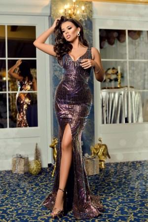 Rochie lunga eleganta cu paiete colorate