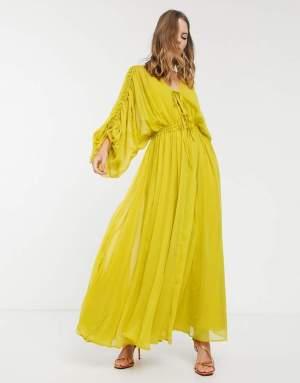 Rochie lunga lejera galben neon cu maneci largi Asos
