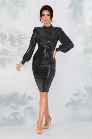 Rochie neagra eleganta de ocazie cu paiete argintii
