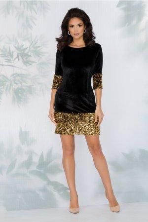Rochie neagra eleganta din catifea cu aplicatii din paiete aurii