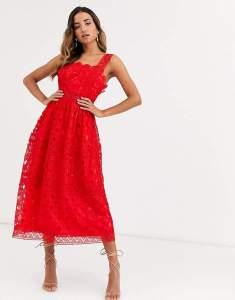 Rochie rosie eleganta din broderie Asos