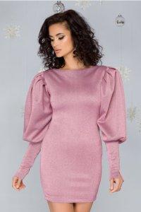 Rochie roz cu sclipici si maneci bufante