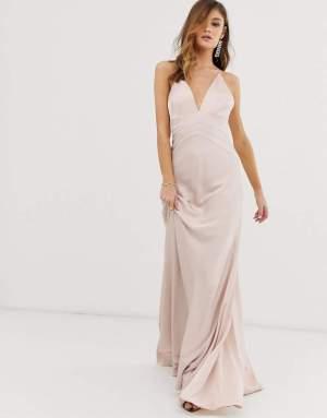 Rochie roz prafuit lunga eleganta tip sirena cu bretele spaghetti Asos