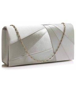 Clutch argintiu din satin cu design geometric cu lant lung