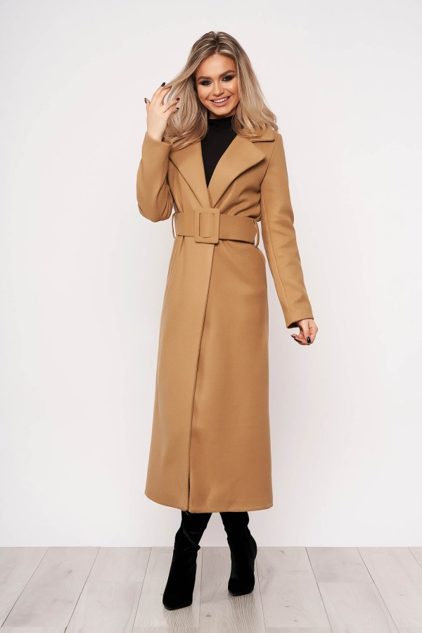 Palton maro casual elegant cu un croi cambrat fara captuseala