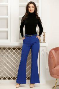 Pantaloni evazati albastru electric