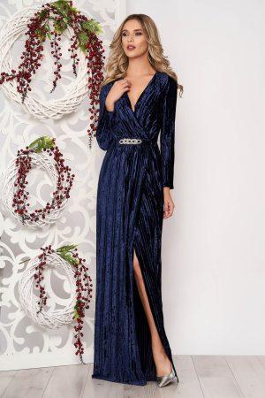 Rochie de ocazie albastru-inchis din material catifelat cu decolteu in v