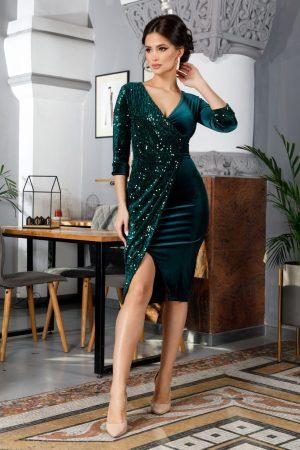 Rochie de ocazie eleganta midi din catifea verde cu insertii din paiete