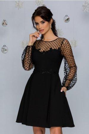 Rochie de ocazie eleganta neagra in clos midi din stofa si tull cu buline