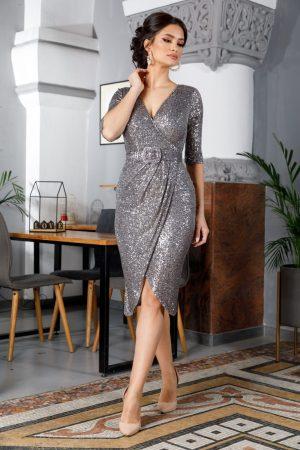 Rochie de ocazie midi accesorizata cu paiete si curea