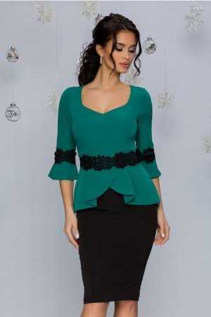 Rochie de ocazie verde si negru cu broderie florala in talie si la maneci