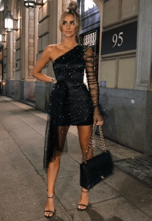 Rochie de seara neagra eleganta scurta cu tulle cu sclipici