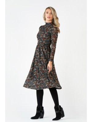 Rochie de zi midi in clos cu imprimeu floral si guler tip maleta