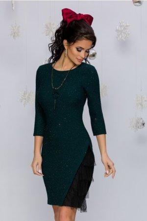 Rochie eleganta conica midi verde cu mini paiete si design cu tull la baza