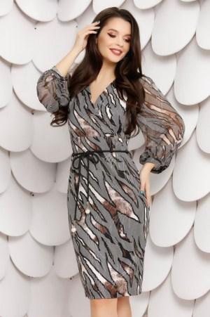 Rochie eleganta gri din voal imprimat cu maneci bufante si decolteu in V