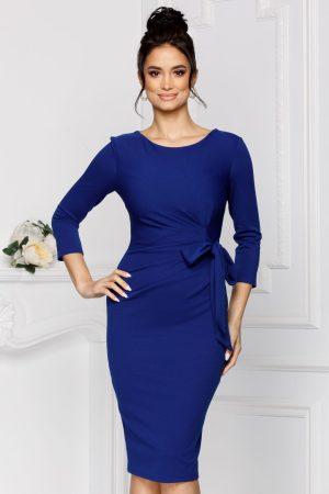 Rochie eleganta midi albastra cu maneci trei sferturi si pliuri in talie