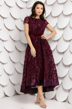 Rochie eleganta mov asimetrica din organza cu insertii de catifea si cordon