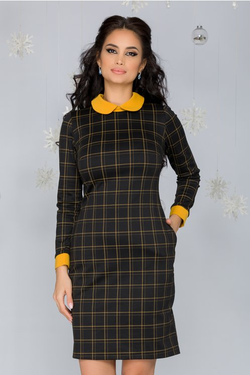 Rochie eleganta neagra cambrata cu carouri galbene si maneci lungi