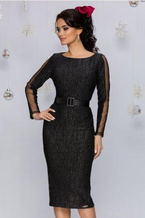 Rochie eleganta neagra conica midi cu insertii din piele ecologica si tull