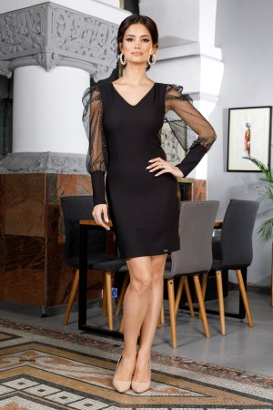 Rochie eleganta neagra cu maneci din tull