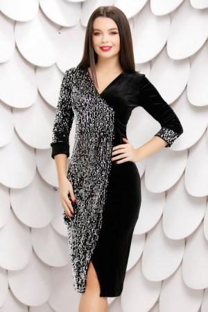 Rochie eleganta neagra petrecuta din catifea cu paiete si decolteu in V