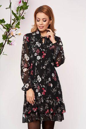 Rochie eleganta neagra scurta de zi din material vaporos cu croi larg