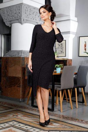 Rochie eleganta petrecuta neagra midi din lycra cu decolteu in V