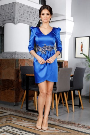 Rochie eleganta petrecuta scurta albastra din satin accesorizata cu paiete