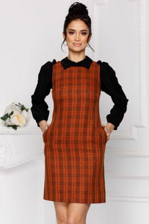 Rochie eleganta scurta de zi cu maneci lungi si guler de camasa