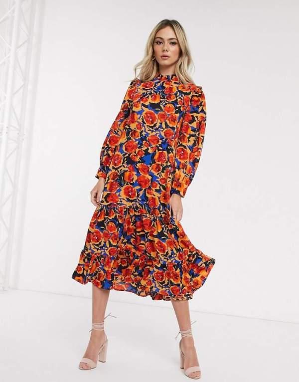 Rochie maxi cu guler ca la camasa si cu imprimeu floral colorat
