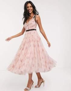 Rochie midi eleganta in clos roz prafuit cu imprimeu floral