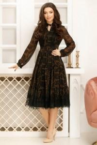 Rochie neagra din voal cu imprimeu maro si bordura din dantela