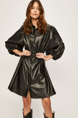 Rochie neagra tip camasa din imitatie de piele cu maneci bufante